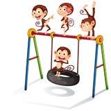 Monkeys and swing. Illustration of many monkeys on a swing Royalty Free Stock Photography