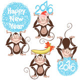 Monkeys. Symbol of the New Year 2016. Vector illustration,  isol Royalty Free Stock Photo