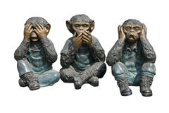 Monkeys. Three monkeys, can not see, can not speak or hear stock photos