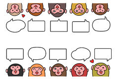 Monkeys in two rows with speech bubbles Royalty Free Stock Image