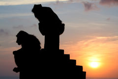 Monkeys at Uluwatu temple, Bali Indonesia. Silhouette monkeys at Uluwatu temple, Bali Indonesia Royalty Free Stock Photo