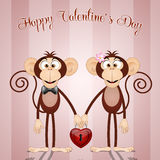 Monkeys in Valentine's Day Stock Photos