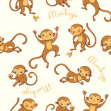 Monkeys. vector seamless pattern Stock Images