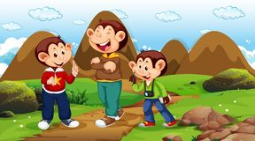 Monkeys walking in park scene. Illustration royalty free illustration
