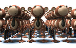 Monkeys at work. Clones and robots Stock Photo