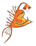 Monkfish Deep-water fish Cartoon. Predatory yellow fish with a bulb Royalty Free Stock Photo