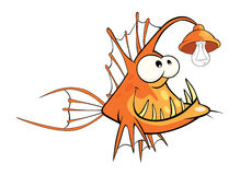 Monkfish Deep-water fish Cartoon. Predatory yellow fish with a bulb Royalty Free Stock Images