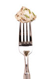 Monkfish on a fork Stock Photo
