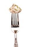 Monkfish op een vork Stock Foto