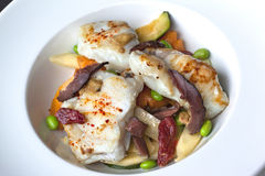 Monkfish and vegetable Stock Photos