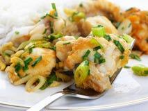 Monkfish in zenzero con le cipolle ed il riso della sorgente immagini stock