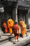 Monks. Group of monks in Angkor wat, cambodia Royalty Free Stock Photos