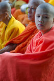 Monks at Alms Ceremony Royalty Free Stock Photography