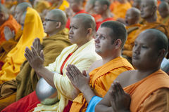 Monks at Alms Ceremony Royalty Free Stock Photos