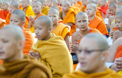 Monks at Alms Ceremony Royalty Free Stock Images