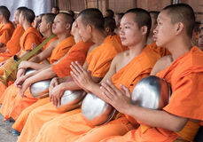 Monks Alms Ceremony, Thailand. CHIANG MAI, THAILAND - APRIL 13 2015: The official opening ceremony of Songkran (Thai New Year Festival). This is marked by the Royalty Free Stock Images