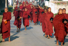 Monks Alms Collecting. Myanmar Royalty Free Stock Images