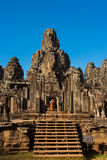 The monks in the ancient stone faces of Bayon temple Stock Image