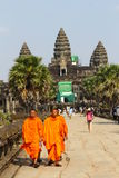 Monks in Angkor Wat Royalty Free Stock Photography