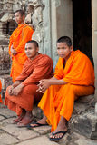 Monks in Angkor Wat, Cambodia Royalty Free Stock Images