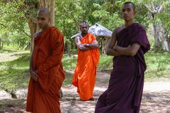 Monks in Anuradhapura forest, Sri Lanka Stock Photos