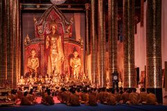Monks Are Praying In Wat Chedi Luang Temple, Ancient Lanna Arch Royalty Free Stock Images