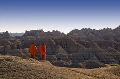 Monks in the Badlands. Royalty Free Stock Photos