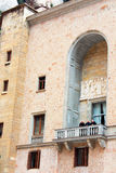 Monks are on balcony in Montserrat Benedictine monastery Stock Images
