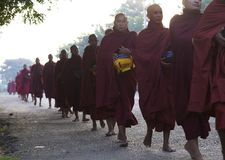 Monks Barefoot Myanmar Burma Royalty Free Stock Photos