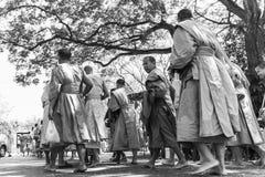 Monks black & white. At Buddhamonthon Nakhon Pathom Province, Thailand Stock Photography