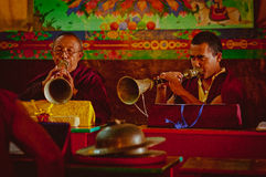Monks in buddhist temple Royalty Free Stock Images