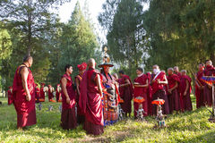 Monks carrying out Buddhist ceremony stock photo
