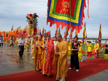 Monks ceremony at Kiep Bac tempel Stock Photo