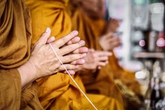 Monks chant on background blurred royalty free stock photography