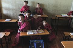 Monks children in the monks school at the Thiksay Gompa