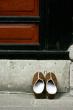 Monks Chinese Slippers placed outside temple door Royalty Free Stock Image