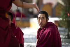 Monks debating, Lhasa, Tibet Stock Photo