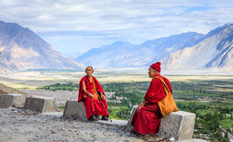 Monks from Diskit Monastery Royalty Free Stock Image