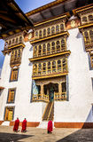 Monks in the dzong Royalty Free Stock Photos