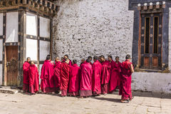 Monks in the dzong of trongsa Stock Photos