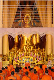 Monks Evening Chant in Wat Phra Singh temple Chiangmai Thailand. CHIANGMAI, THAILAND: JUNE 19, 2015 - Monks Evening Chant in Wat Phra Singh temple on June 19 Stock Photos