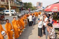 Monks during food gathering at Battambang on Cambodia Stock Image