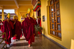 Monks of Gyuto monastery, Dharamshala, India. Tibetan Buddhist monks leaving a  ceremony, a yearly Puja inside the temple of Gyuto monastery, Dharamshala, India Stock Photo