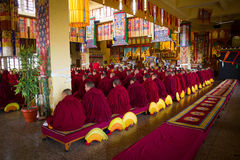 Monks of Gyuto monastery, Dharamshala, India. Tibetan Buddhist monks at a Puja in the temple of Gyuto monastery, Dharamshala, India Royalty Free Stock Photo