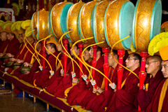 Monks Gyuto monastery, Dharamshala, India. Tibetan Buddhist monks at a Puja in the temple of Gyuto monastery, Dharamshala, India Stock Photo