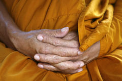 Monks hands. Monk hands taken in a temple in Asia Royalty Free Stock Photography