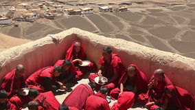 Monks Key Temple Roof Breakfast stock video footage