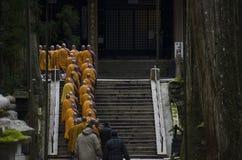 Monks at Koya-san. Buddhist monks walking to a temple in Koya-san, Japan Royalty Free Stock Photo