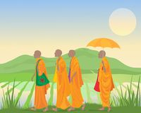Monks and landscape Royalty Free Stock Photography