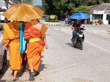 Monks in Laos stock image